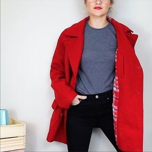 Abercrombie Fitch Red Wool Peacoat